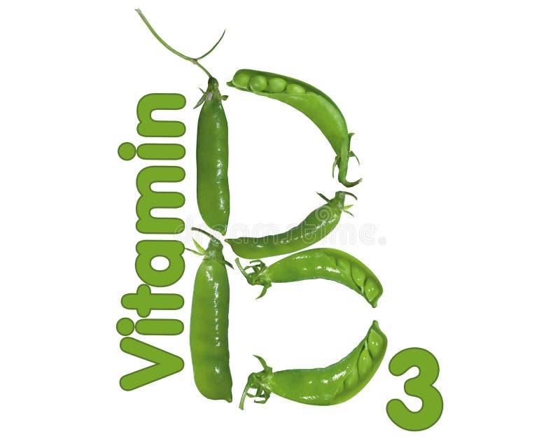 Vitamin B3 and peas stock illustration