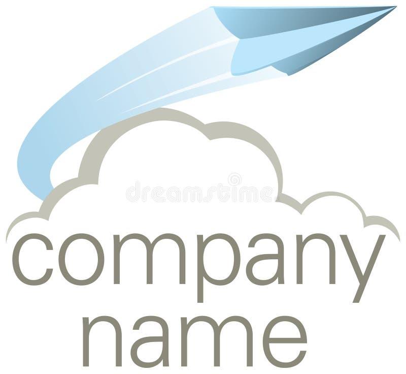 Logo volant de compagnie d'avion de papier illustration stock