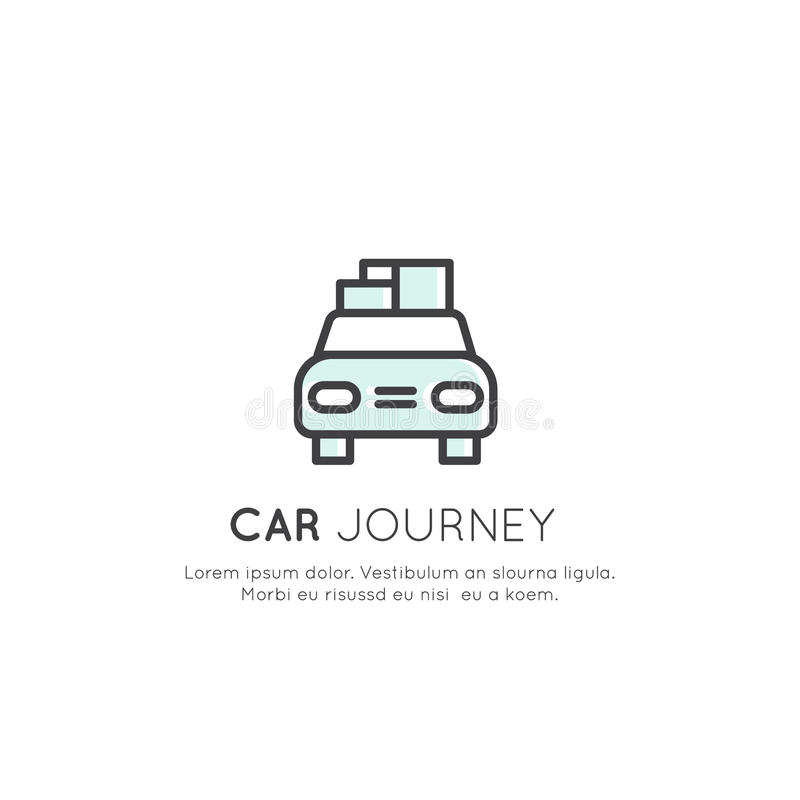Logo von Car Journey, Camping Vacation, Delivery Service, Taxi Company, Fracht und Logistik-Konzept stock abbildung