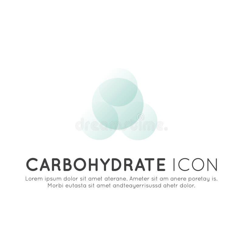 Logo von Nahrungsmittelergänzungen, -bestandteile und -vitaments und -elemente für Biopaketaufkleber - Kohlenhydrat lizenzfreie abbildung