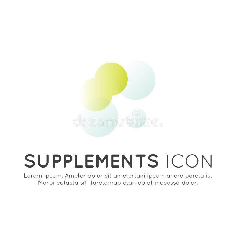 Logo von Nahrungsmittelergänzungen, -bestandteile und -vitaments und -elemente für Biopaketaufkleber vektor abbildung