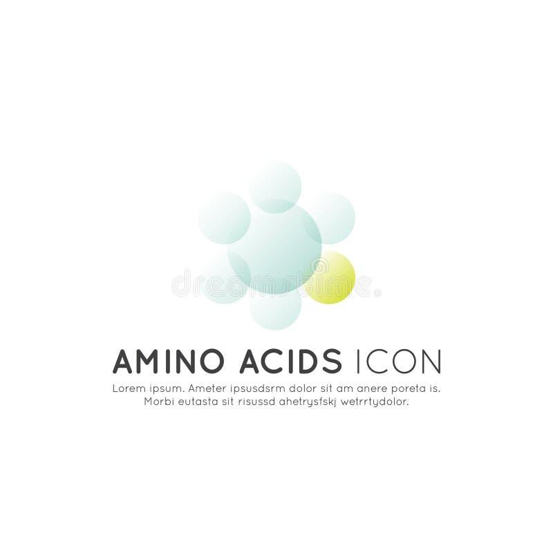 Logo von Nahrungsmittelergänzungen, -bestandteile und -vitamine und -elemente für Biopaketaufkleber - Aminosäuren vektor abbildung
