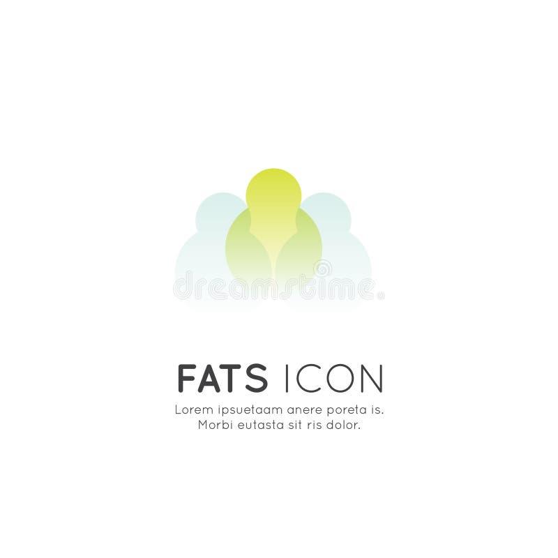 Logo von Nahrungsmittelergänzungen, -bestandteile und -vitamine und -elemente für Biopaketaufkleber, natürliche gesunde Konzeptio lizenzfreie abbildung