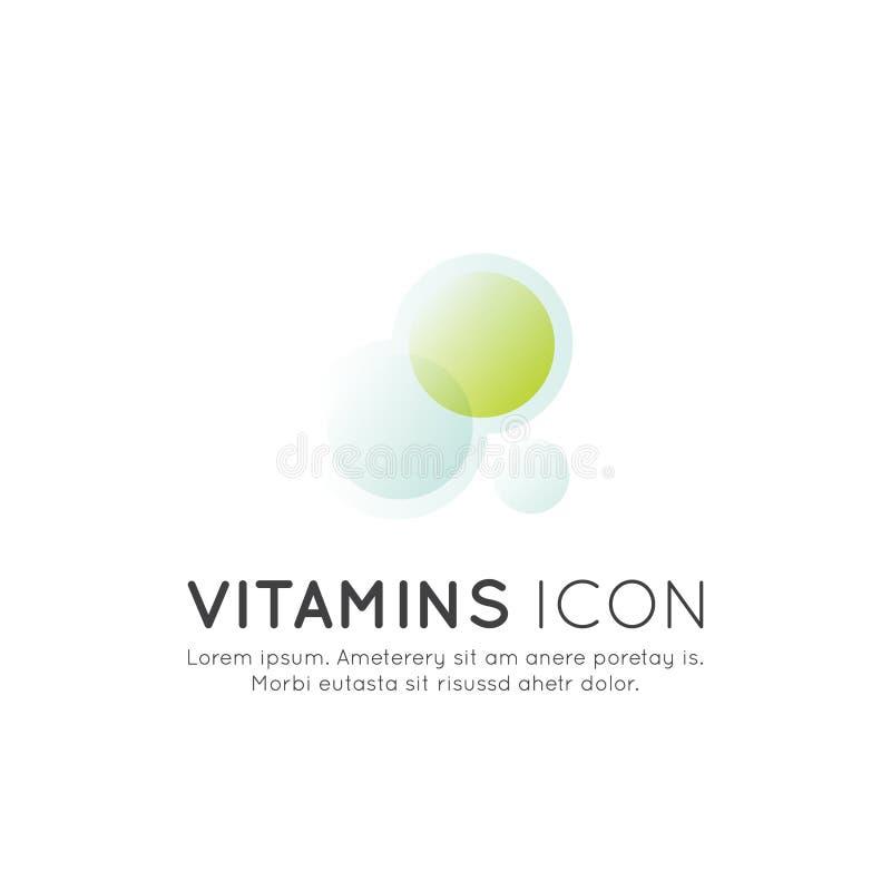 Logo von Nahrungsmittelergänzungen, -bestandteile und -vitamine und -elemente für Biopaketaufkleber, natürliche gesunde Konzeptio vektor abbildung