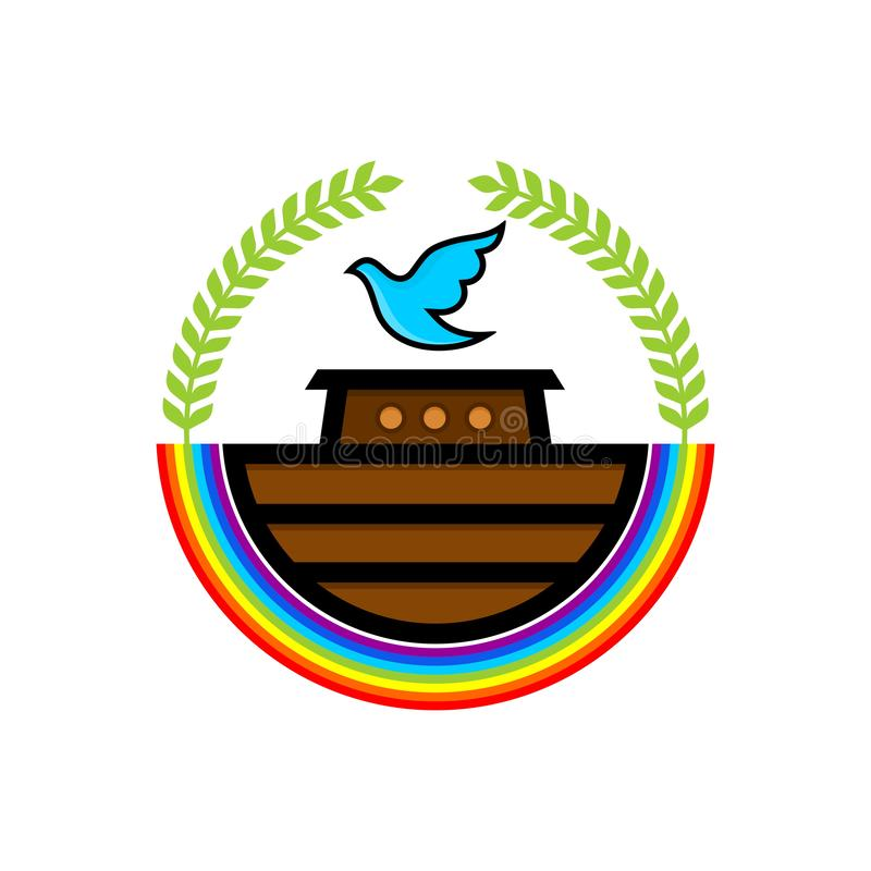 Logo von Noahs Arche Regenbogen - ein Symbol des Vertrages Taube mit einer Niederlassung der Olive Schiff, zum von Tieren und von stock abbildung