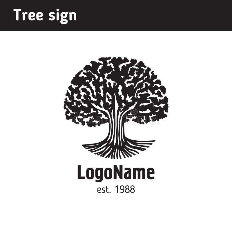 Logo w postaci starego drzewa z korzeniami ilustracji