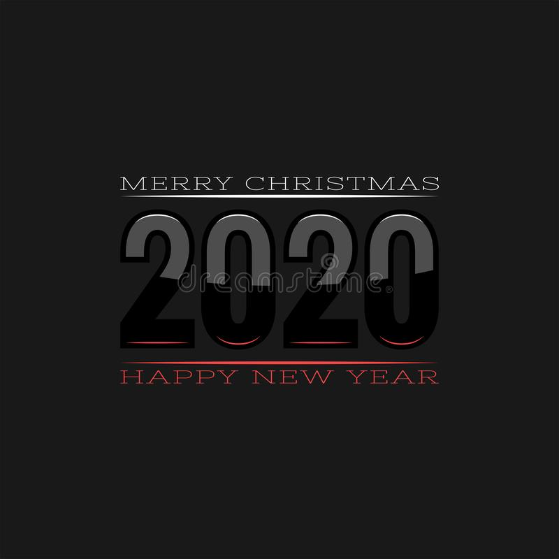 Logo 2020 with white and red reflections for a calendar or poster with the text Merry Christmas and Happy New Year, creative royalty free illustration