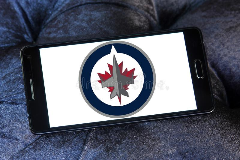 Winnipeg Jets ice hockey team logo. Logo of Winnipeg Jets ice hockey team on samsung mobile. The Winnipeg Jets are a professional ice hockey team based in stock photo