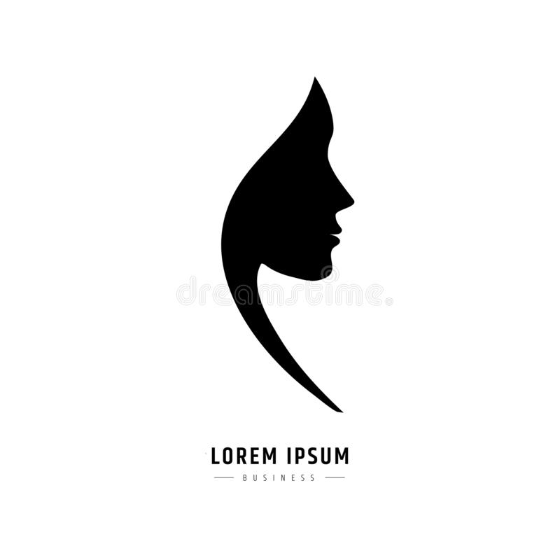 Logo woman face. Logo for a beauty salon or procedures for hair cosmetics or hairdresser royalty free illustration
