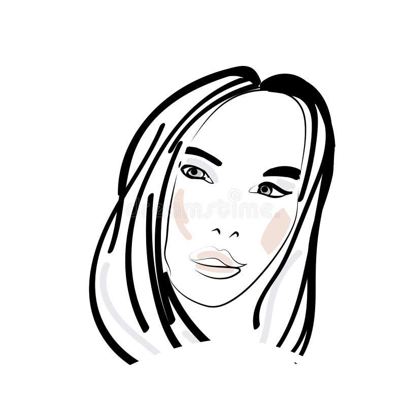 Logo of women long hair style icon, illistration beauty and fasihon vector illustration