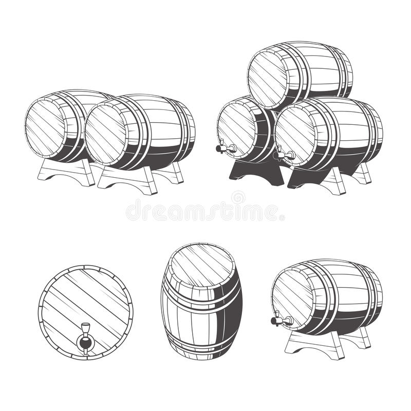 Logo wooden barrels for storage of drinks. Old winery, storage of a hard liquor. royalty free illustration