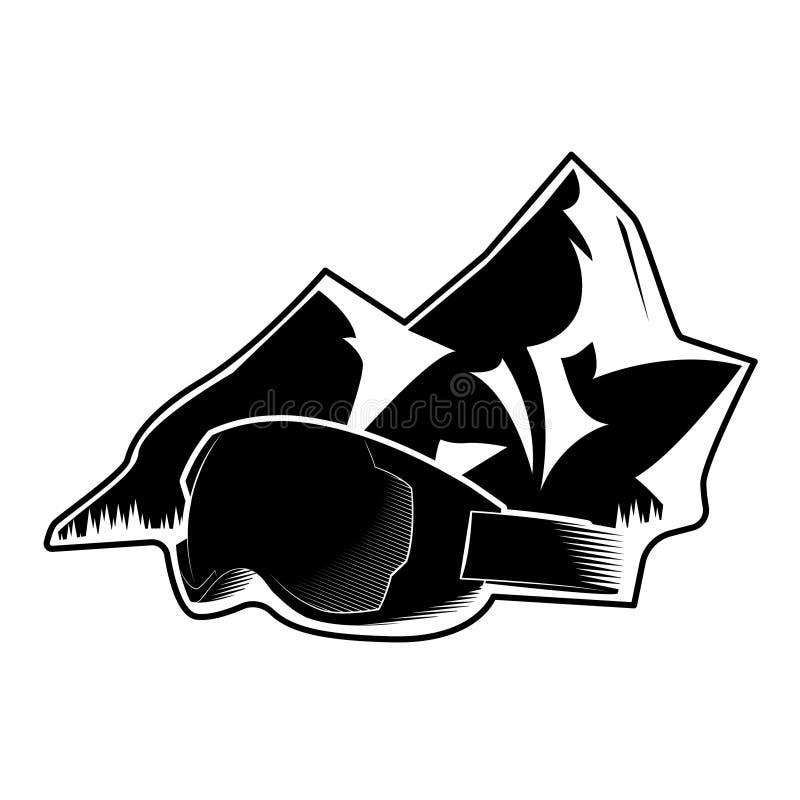 Logo z górą i maska dla zima sportów sporty ekstremalne również zwrócić corel ilustracji wektora royalty ilustracja