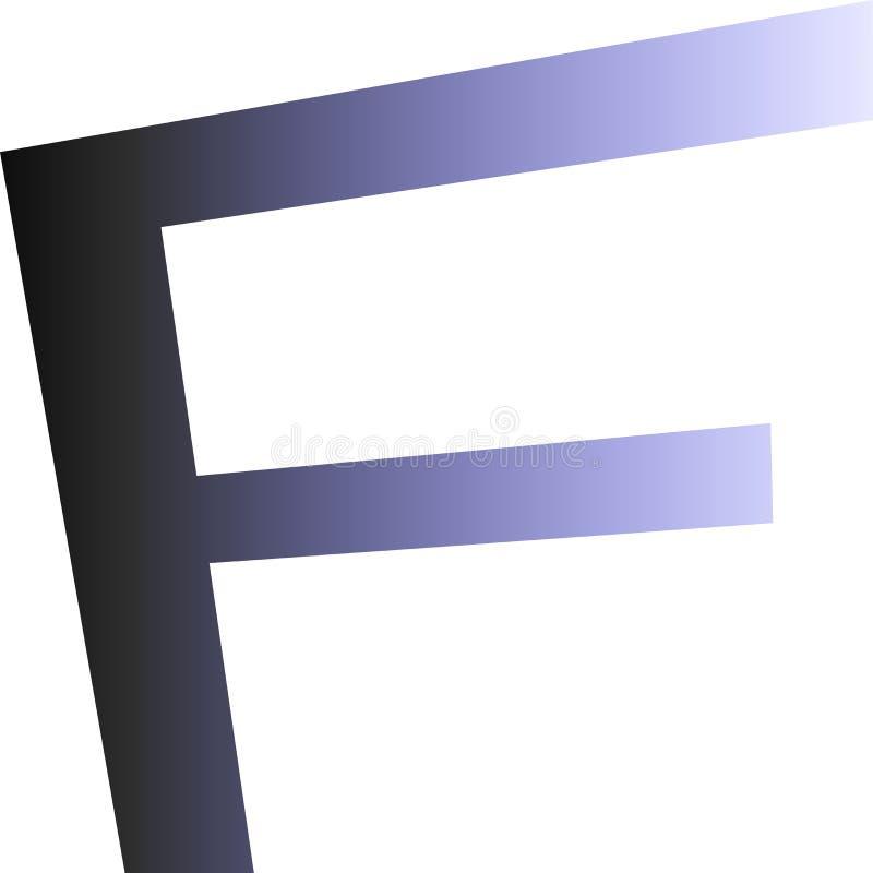 Logo z listem F Czarny & biały kolor z 3D skutkiem royalty ilustracja