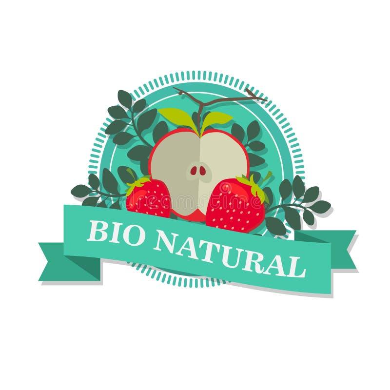 Logo z obrazkiem pokrojony czerwony Apple i Wiktoria z wpisowego ` Życiorys naturalny ` ilustracji