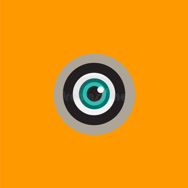 Logo z zielonego oka zerkaniem w peephole ilustracja wektor