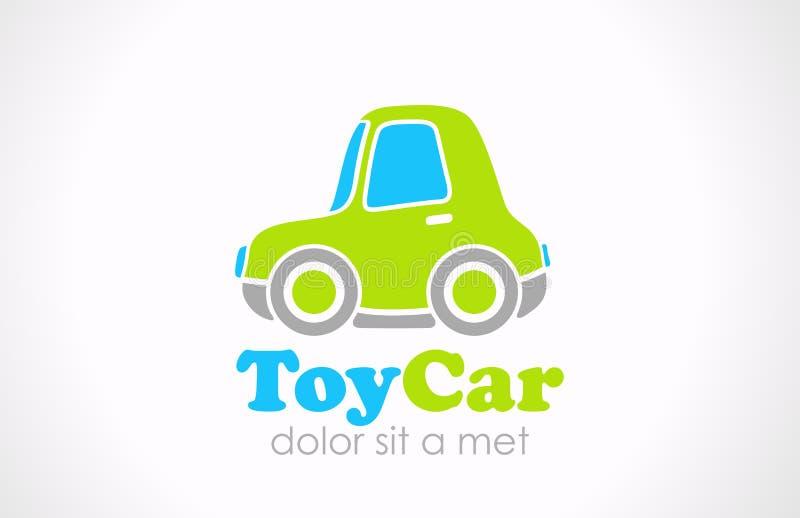 Logo zabawy Zabawkarski samochodowy wektor. Śmieszna mikro maszynowa ikona  ilustracji