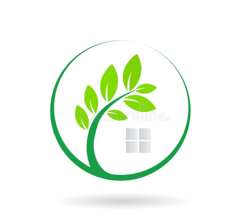 Logo Zielony Drzewny zjednoczenie w okręgu wektorze ilustracji