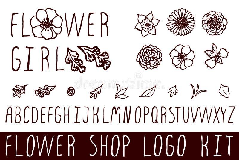 Logoausrüstung für Blumenladen stock abbildung