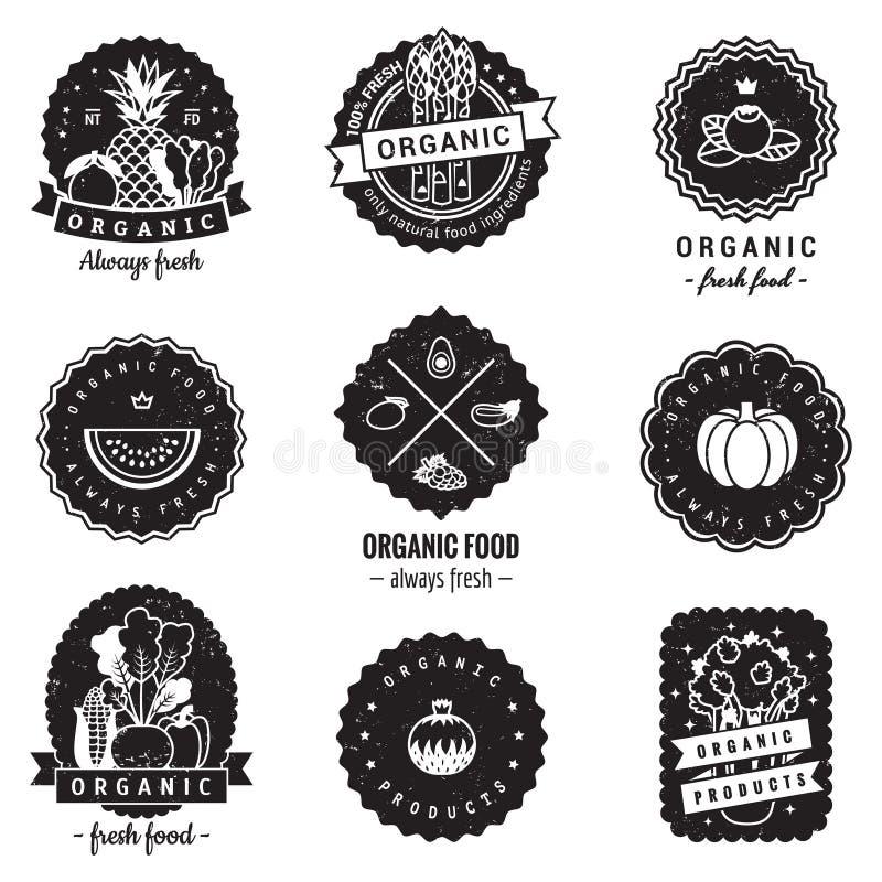 Logoausweisweinlese-Vektorsatz des biologischen Lebensmittels Hippie und Retrostil Vervollkommnen Sie für Ihr Geschäft vektor abbildung