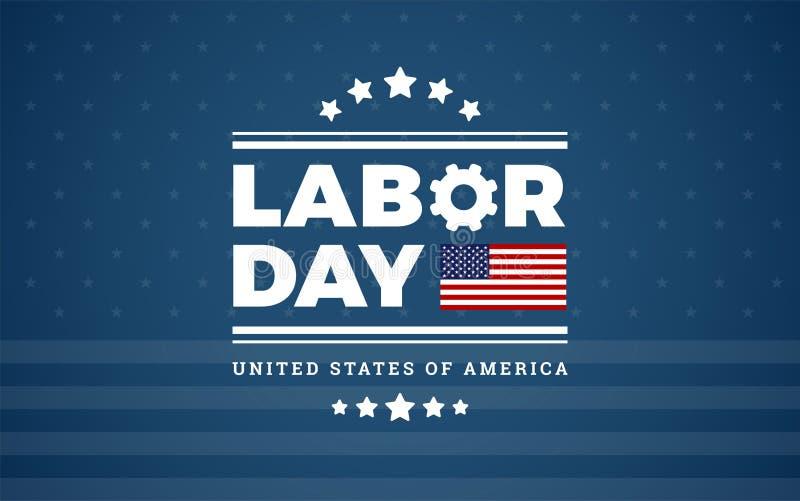 Logobakgrund USA - blå bakgrund med stjärnor, band för arbets- dag stock illustrationer