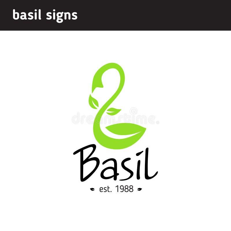 Logobasilikumblatt in Form einer Schaufel lizenzfreie abbildung