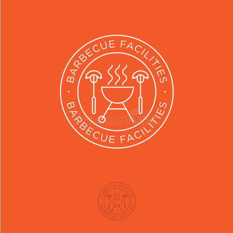 LogoBBQ Lättheter för grillfestemblem Grilla ugnen och dela sig med korvar på orange bakgrund stock illustrationer