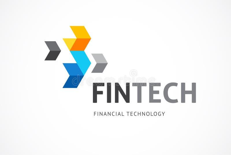 Logobegrepp av fintechbransch, finansdigitization, fintech vektor illustrationer