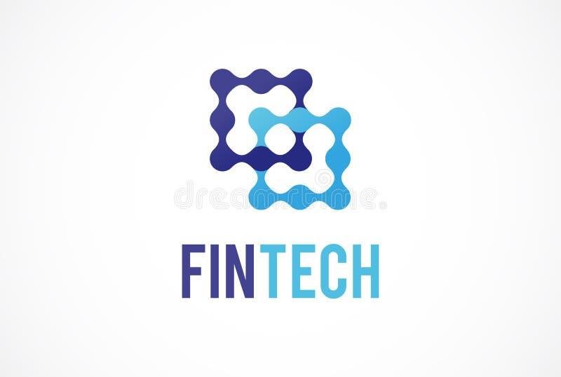 Logobegrepp för fintech och digital finansbransch vektor illustrationer