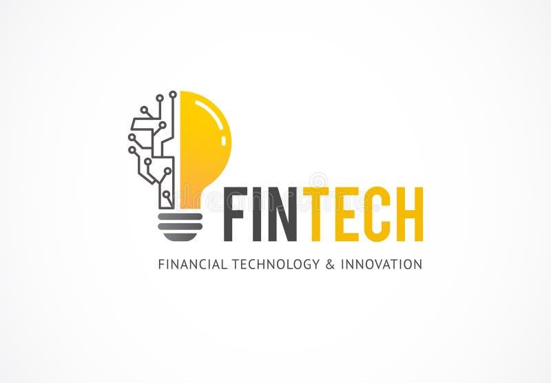 Logobegrepp för fintech och digital finansbransch royaltyfri illustrationer
