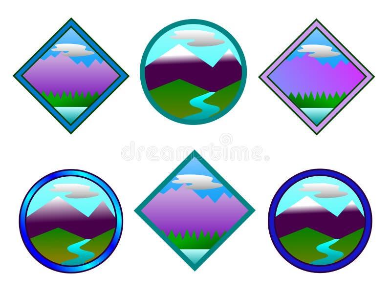 logoberghorisont vektor illustrationer