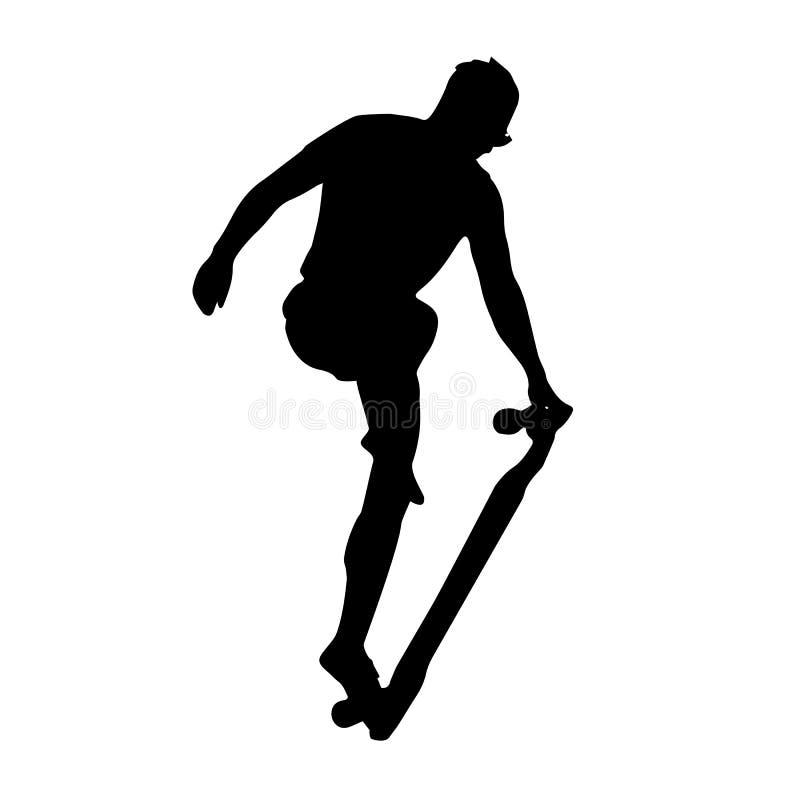 Logoberufsskateboard, das Schattenbild eines Mannes führt einen Trick auf einem Skateboard, longbord Logo durch, stockbild
