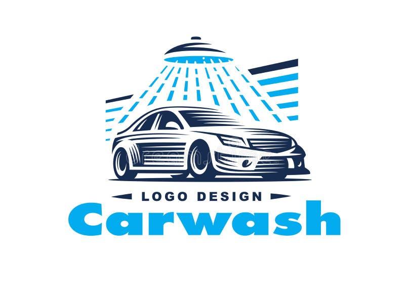 Logobiltvätt på ljus bakgrund stock illustrationer