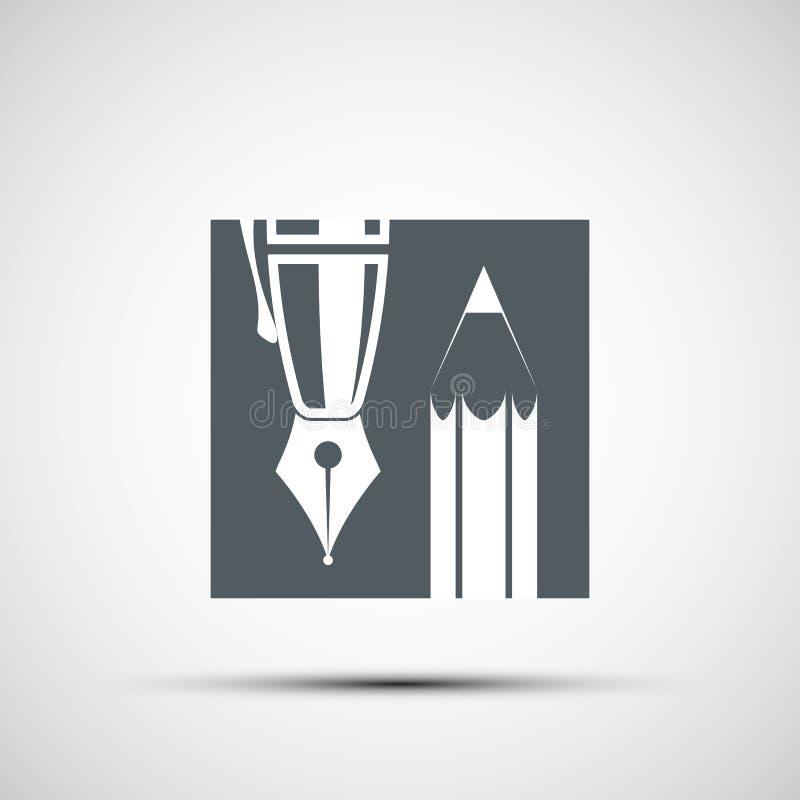 Logoblyertspenna och penna royaltyfri illustrationer