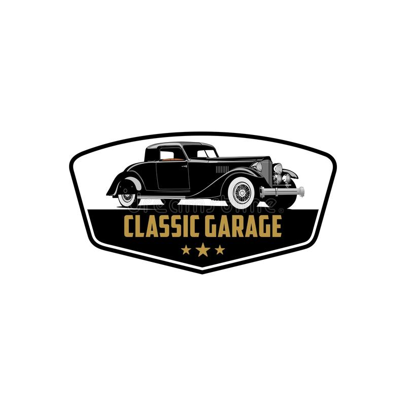 Exclusive classic car collection repair and garage logo vector stock illustration