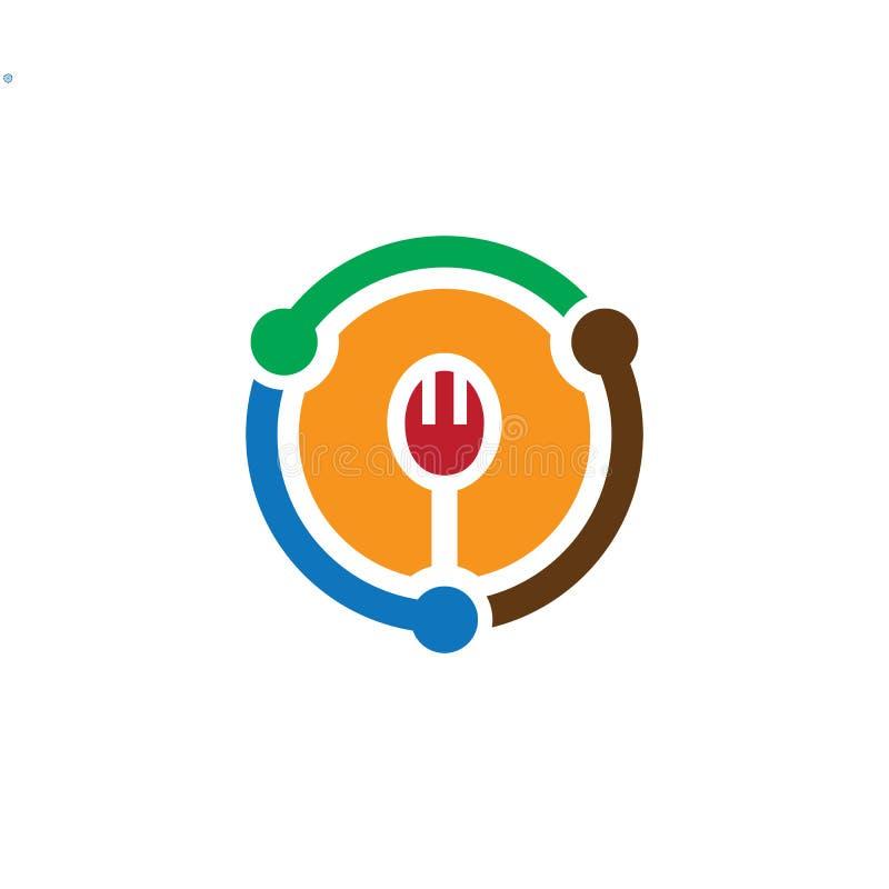 LogoDesign del restaurante de la bifurcación del círculo stock de ilustración