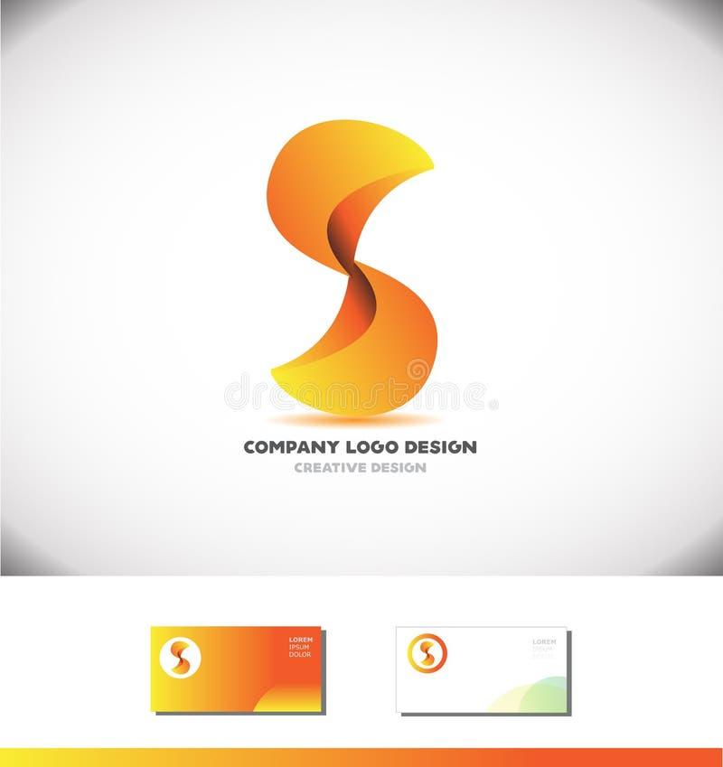 Logodesign der Zusammenfassung 3d des Alphabetbuchstaben S orange stock abbildung