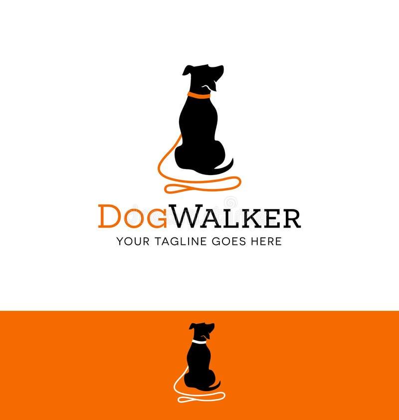Logodesign för hunden som går eller utbildar stock illustrationer