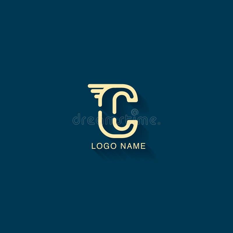 Logodesign för initial bokstav C med en linje begrepp Modern logodesignmall vektor illustrationer