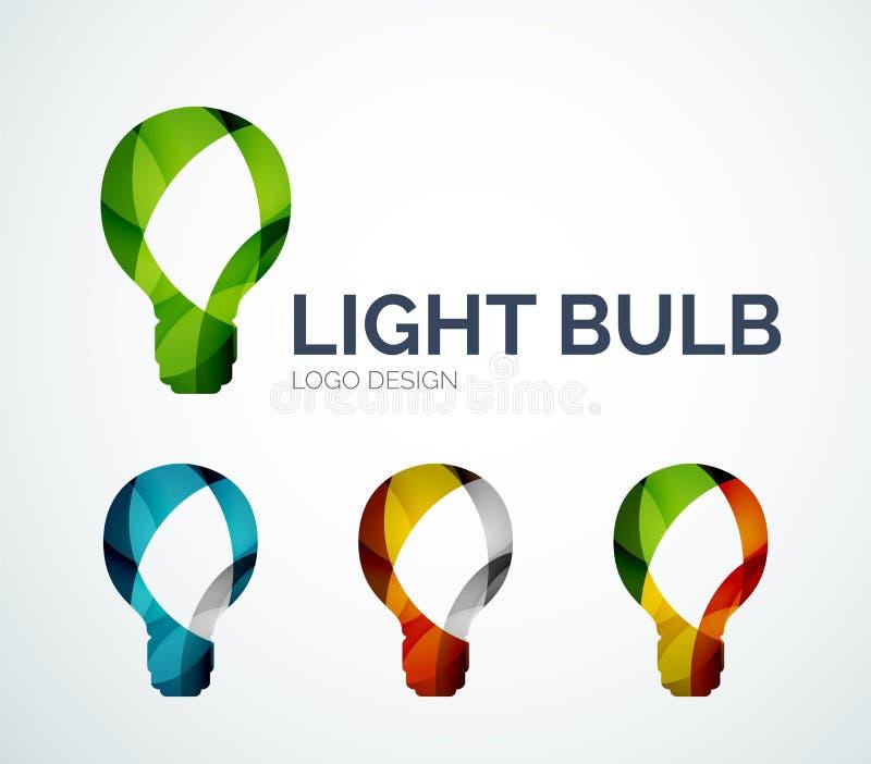 Logodesign för ljus kula som göras av färgstycken royaltyfri illustrationer