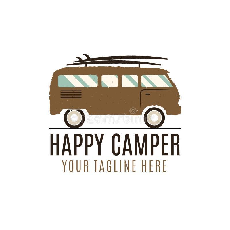 Logodesign för lycklig campare Tappningbussillustration Rv-lastbilemblem Skåpbil symbol mall Surfa utrustning husvagn vektor illustrationer