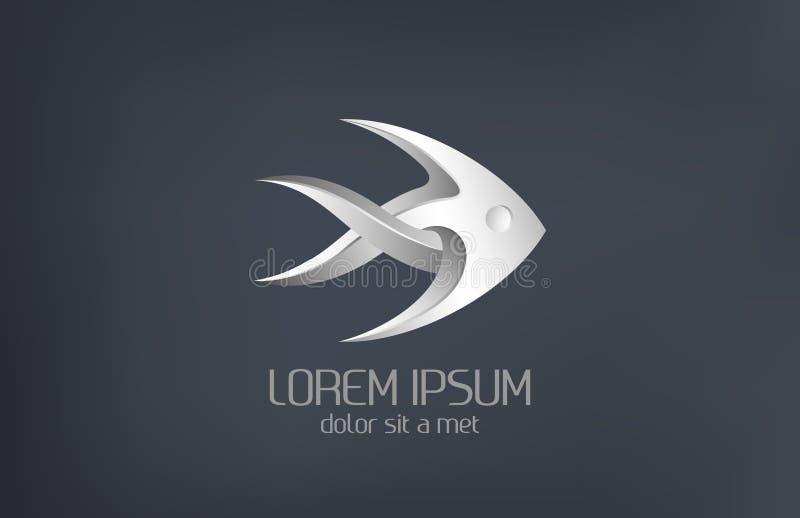 Logodesign: För smyckenmetall för mode lyxig abs för fisk vektor illustrationer