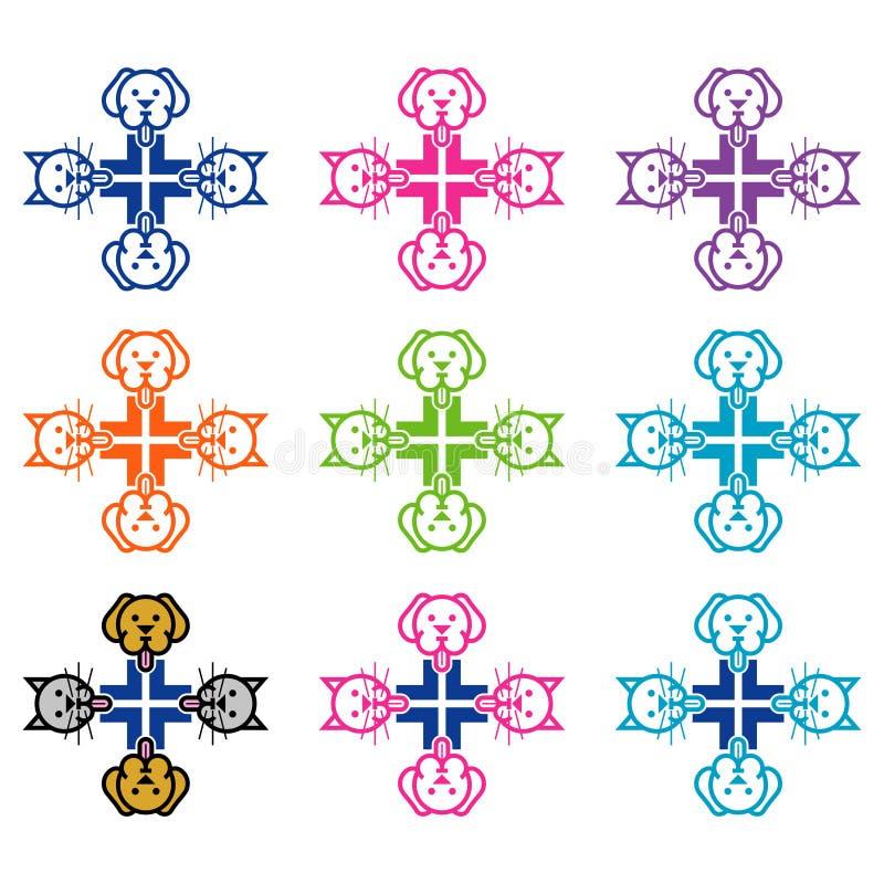 Logodesign för veterinär- vektor illustrationer