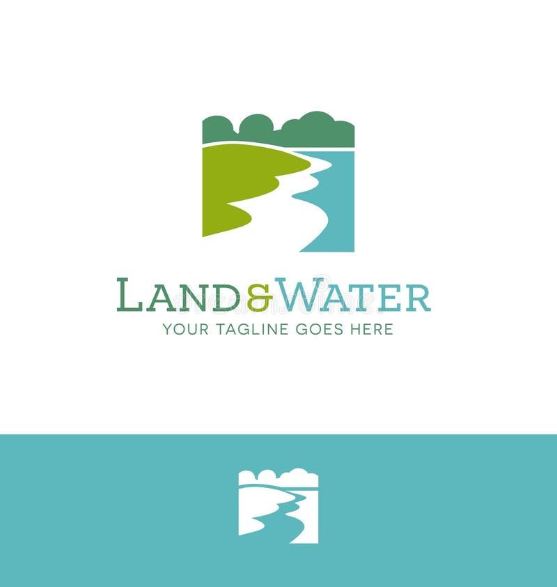 Logodesign für Land und Wasser bezog sich Geschäft stock abbildung