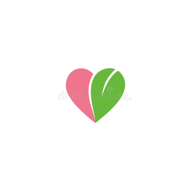Logodesign-Herzform Eco freundliche mit Blattvektor vektor abbildung