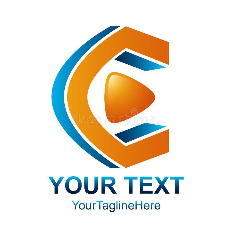 Logodesign-Schablonenelement des Anfangsbuchstaben C mit Spielmedien-BU stock abbildung