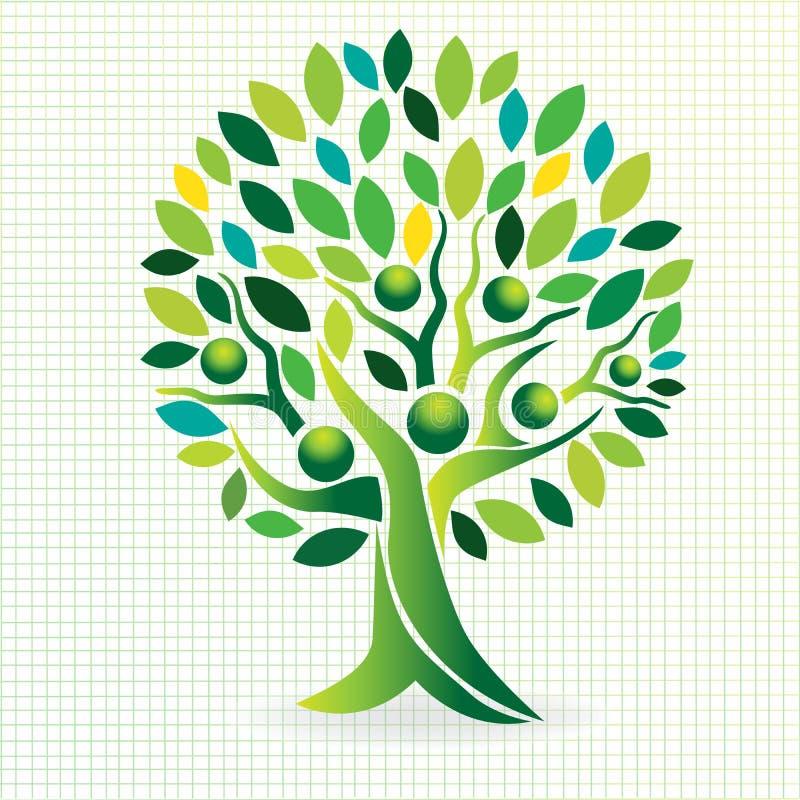 Logodesignbaumfamilien-Leuteikone stock abbildung