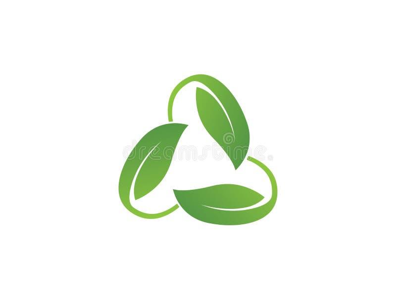 Logodesignbegreppet gällde ekologi och återanvänder med text stock illustrationer