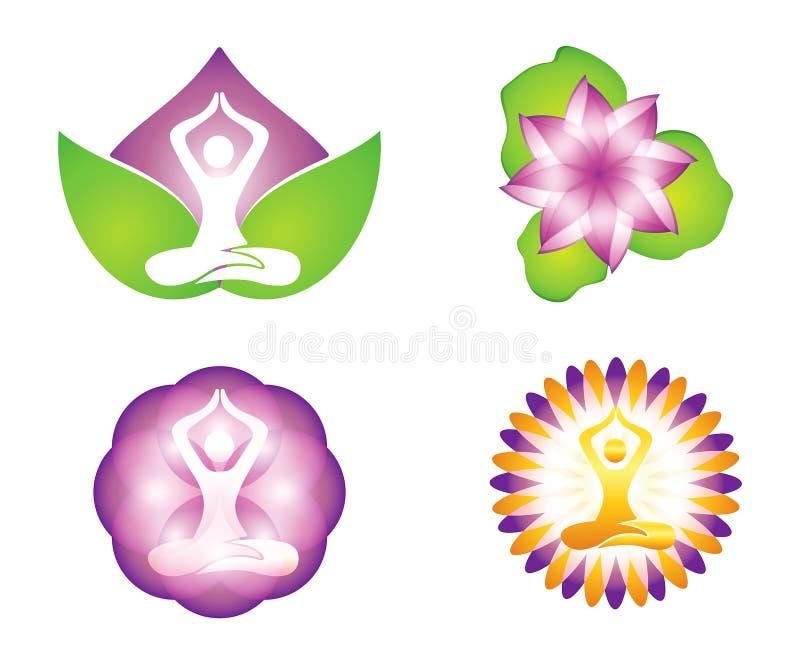 Logodesigner för meditation och lilly lotusblomma stock illustrationer