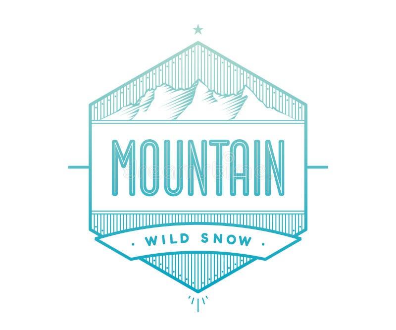 Logoemblem för idérikt designprojekt Märk släkt med bergtemat - blått berg på en vit bakgrund stock illustrationer