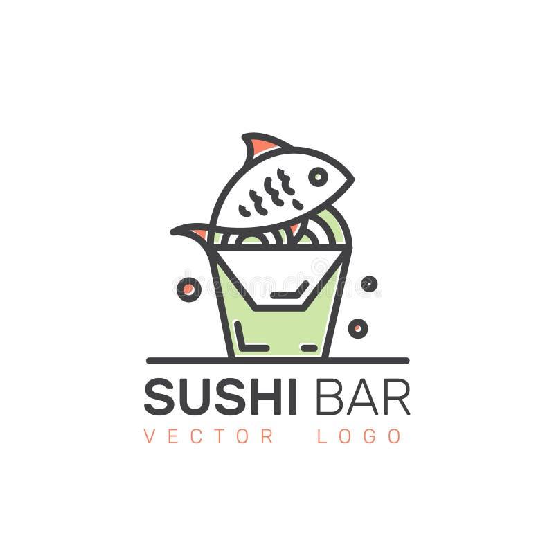 Logoen av den asiatiska gatasnabbmatstången eller shoppar, sushi, Maki, Onigiri Salmon Roll med pinnar stock illustrationer